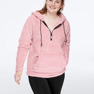 NWT PINK Victoria's Secret Teddy Half Zip Pullover